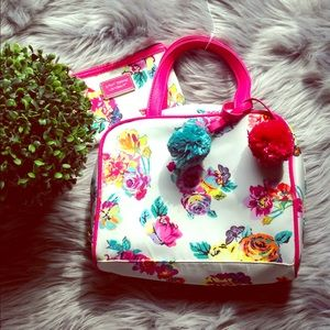 Betsey Johnson cosmetics bags with pompoms